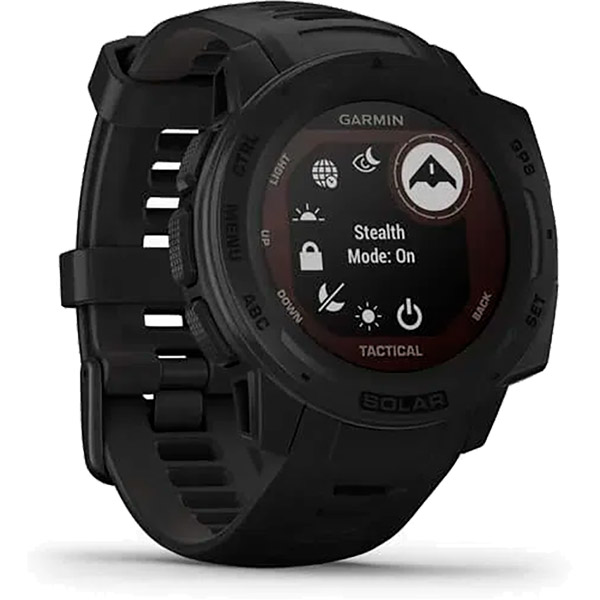 Monitor Cardíaco de Pulso GPS Garmin Instinct Solar Tactical Preto  - TREINIT