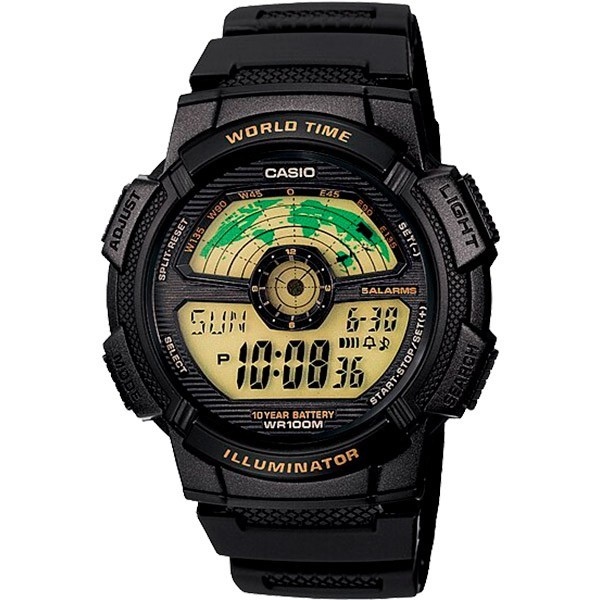 Relógio Casio AE-1100W-1BVDF Bateria 10 Anos Hora Mundi  - TREINIT