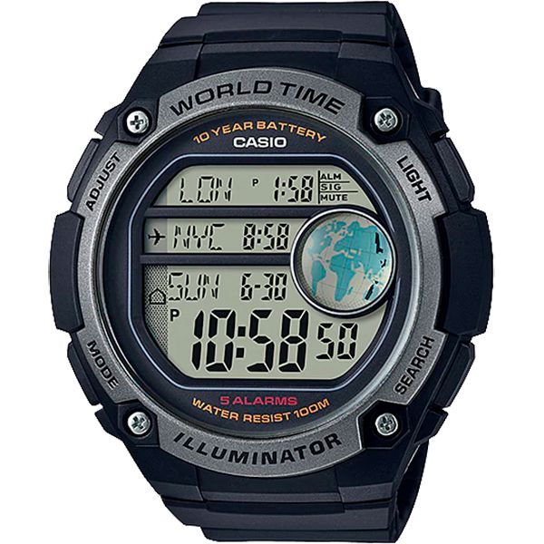 Relógio Casio AE-3000W-1AVDF Bateria 10 Anos Hora Mundi  - TREINIT