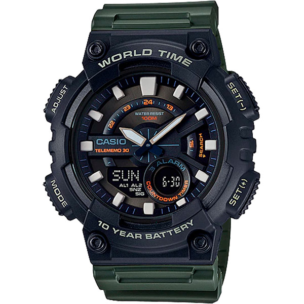 Relógio Casio AEQ-110W-3AVDF Cronômetro Alarme Hora Mundi  - TREINIT