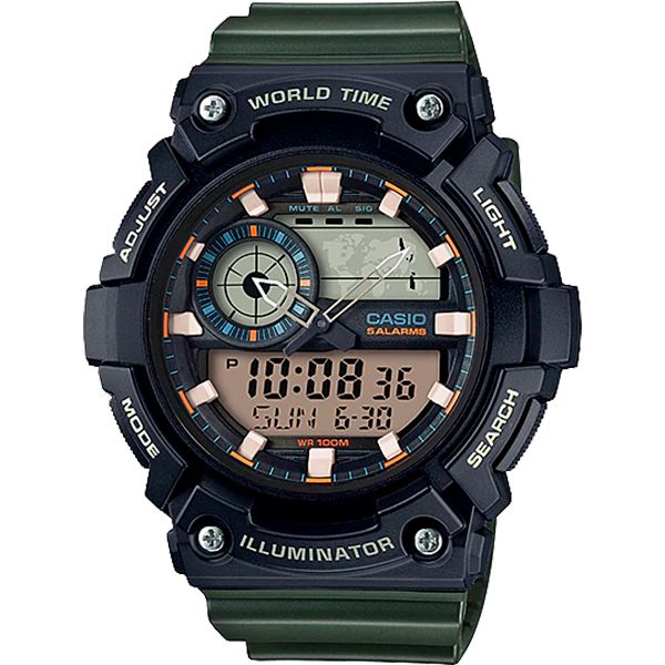 Relógio Casio AEQ-200W-3AVDF Cronômetro Alarme Hora Mundi  - Loja Prime