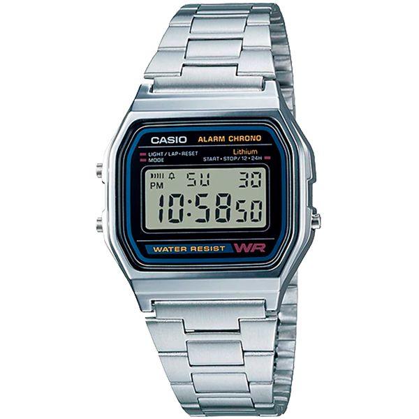 Relógio Casio Retrô Digital Vintage A158WA-1DF Alarme Cronômetro  - TREINIT
