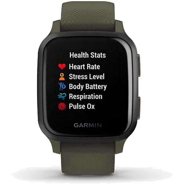 Relógio GPS c/ Monitor Cardíaco Pulso Garmin VENU SQ Music Verde  - TREINIT