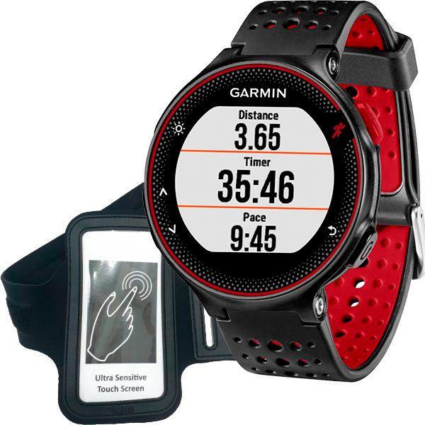 Relógio GPS Frequencímetro de Pulso Garmin Forerunner 235 Preto/Vermelho + Braçadeira Celular  - Loja Prime