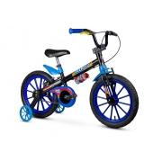 Kit Bicicleta Aro 16 Tech Boys Nathor + Capacete Infantil + Par de Sinalizador LED