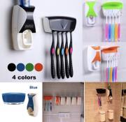 Dispenser para Creme Dental e Porta Escovas (Apenas Rosa c/ Branco)