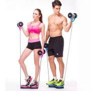 Elástico + Roda para Exercícios Abdominais (Somente Azul)