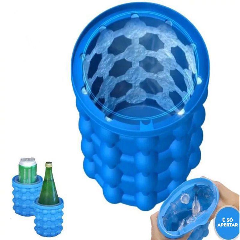 Cooler p/ Latas Garrafas e Forma de Gelo Em silicone