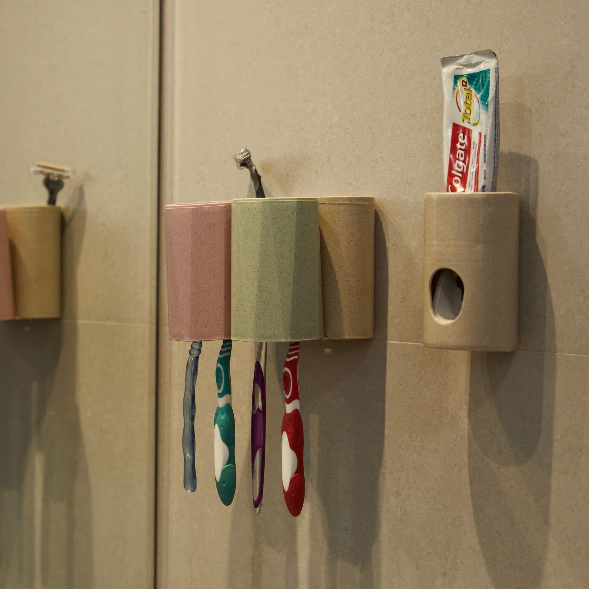 Dispenser para Creme Dental com Porta Escova de Dentes