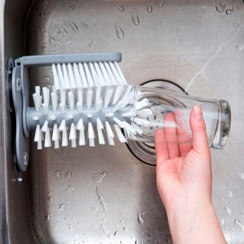 Escova de Lavar Copos Taças Com Ventosa