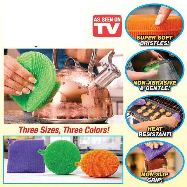 Esponja em Silicone Lava Louças Higiênica Kit c/3 Uni (Cores sortidas)