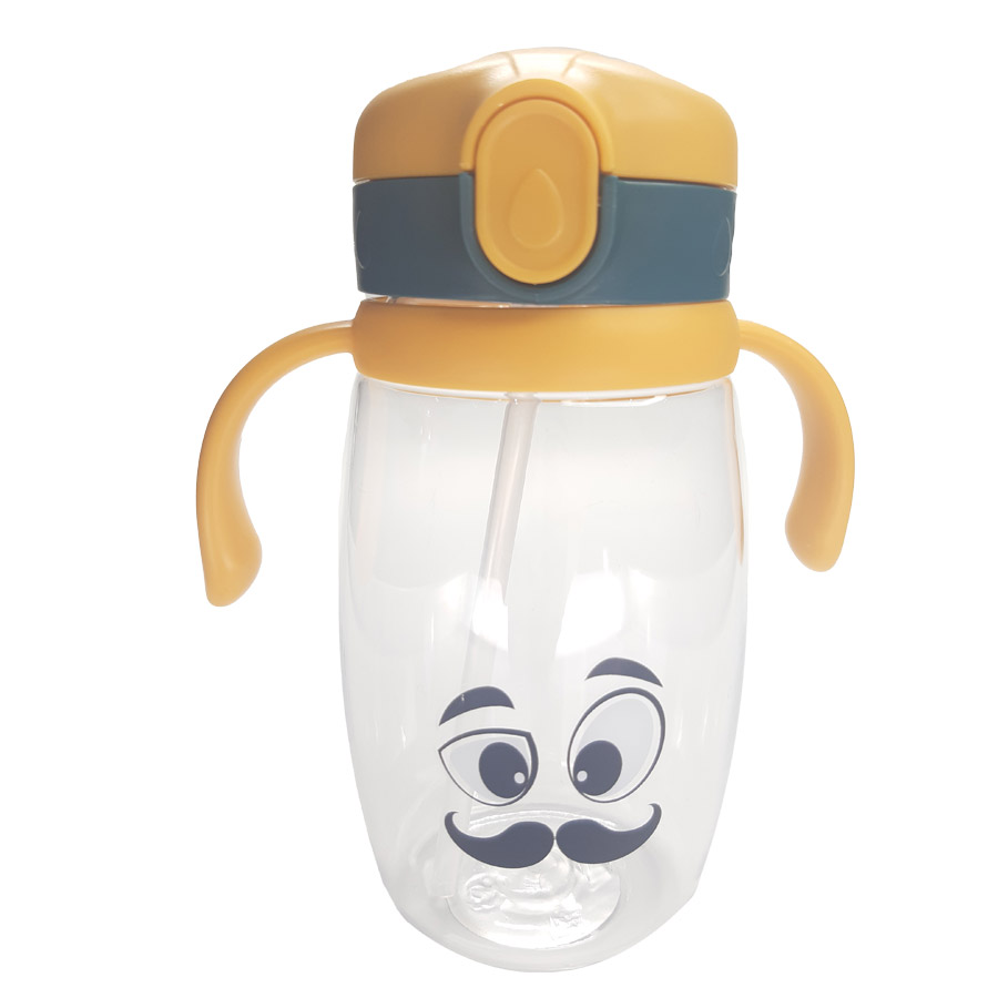 Garrafa de Plástico Canudo de Silicone - Carinhas