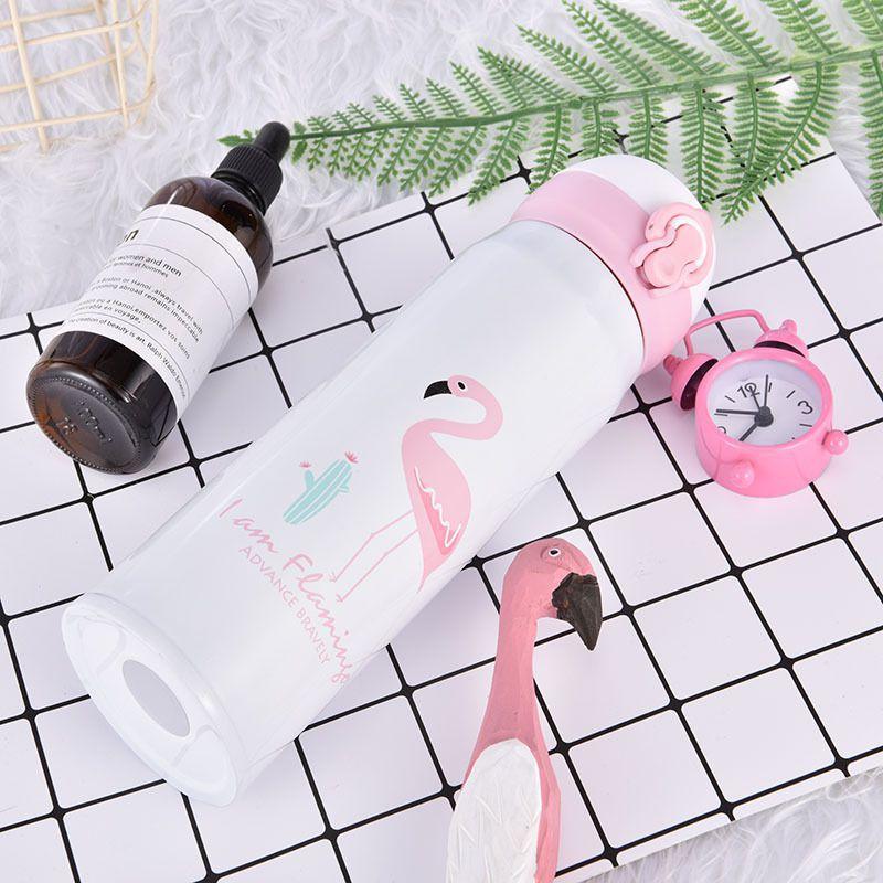 Garrafa Térmica De Inox 500 ML com Estampa de Flamingo