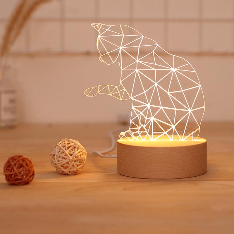 Luminária Em Acrílico Formato De Gato