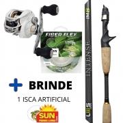 Kit de Pesca Carretilha Albatroz Krait + Vara Lumis Intense 5'8'' 14 lbs + Linha Crown Fiber Flex + Brinde Isca Sun Fishing