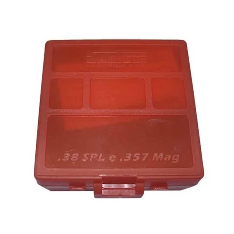 Caixa p/ Munição Calibre 38/357 100 Cartuchos Shotgun   - Pró Pesca Shop