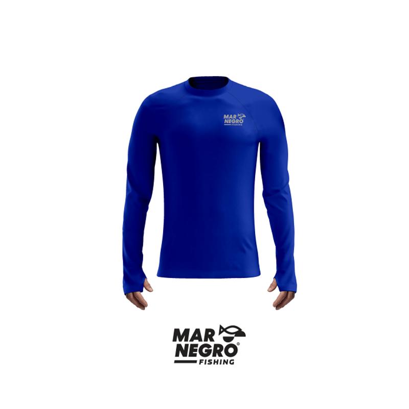 Camiseta Mar Negro 2020  Gola Careca c/ Luva Azul Royal  - Pró Pesca Shop
