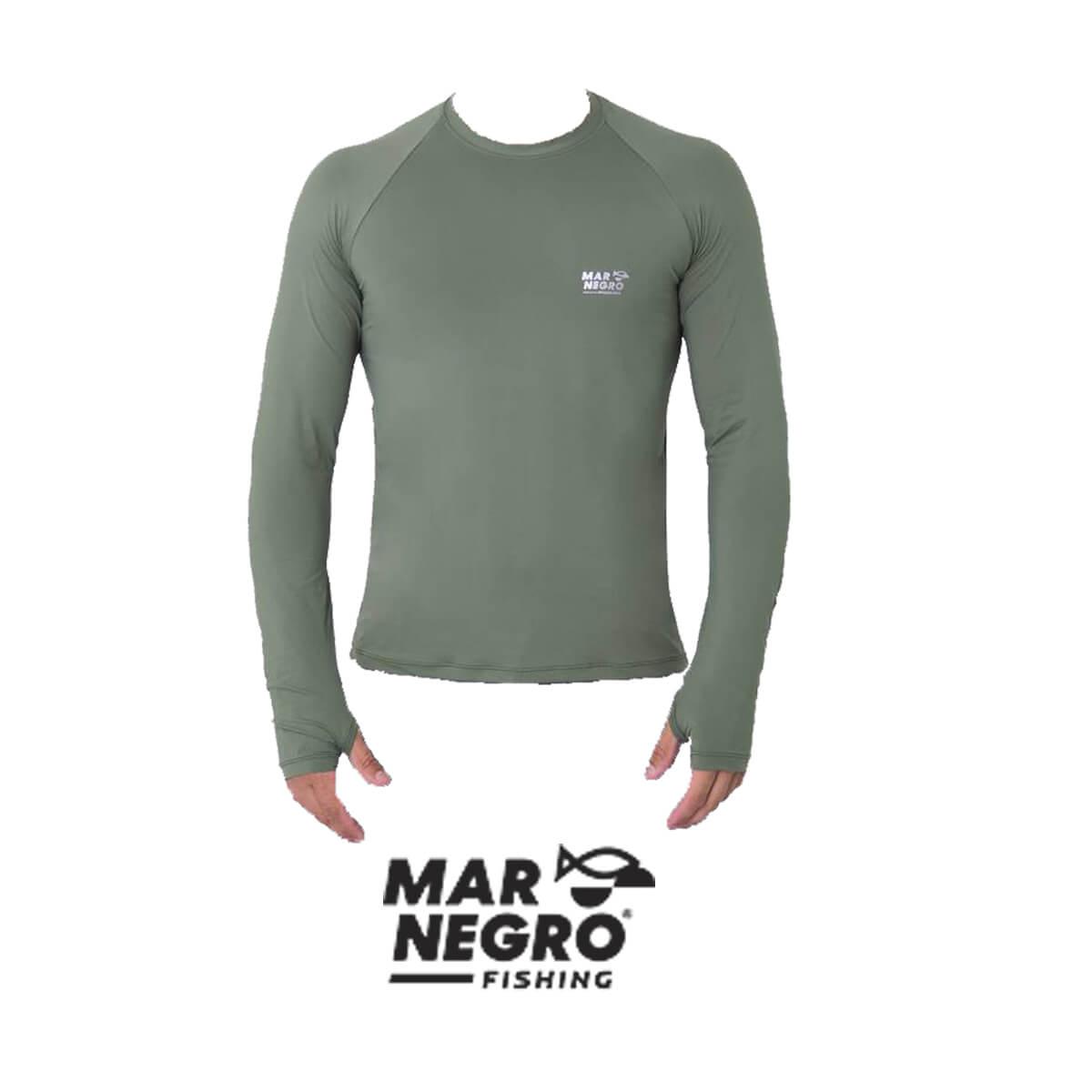 Camiseta Mar Negro 2020 Gola Careca c/ Luva Verde Musgo  - Pró Pesca Shop