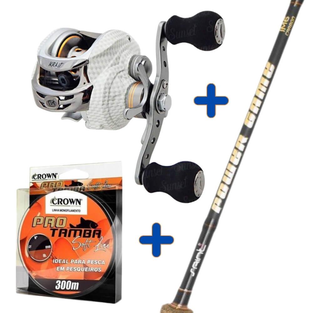 Kit de Pesca Carretilha Albatroz Krait + Vara Power Game 2,40 m + Linha Pro Tamba 0,37 mm  - Pró Pesca Shop