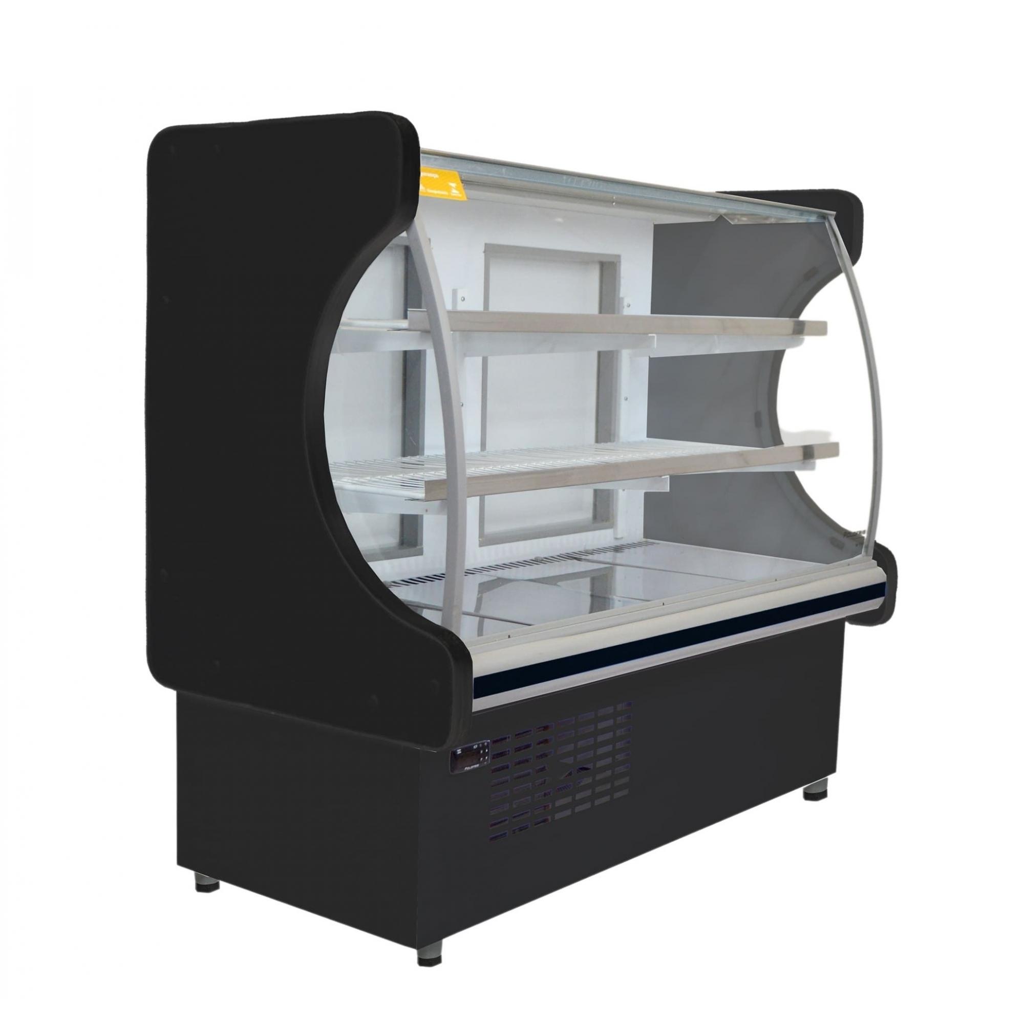 Balcão Refrigerado 1,00M P/ Torta e doces Vidro Semi curvo Classic Preto C/ Led 127V 5022 - Polo Frio