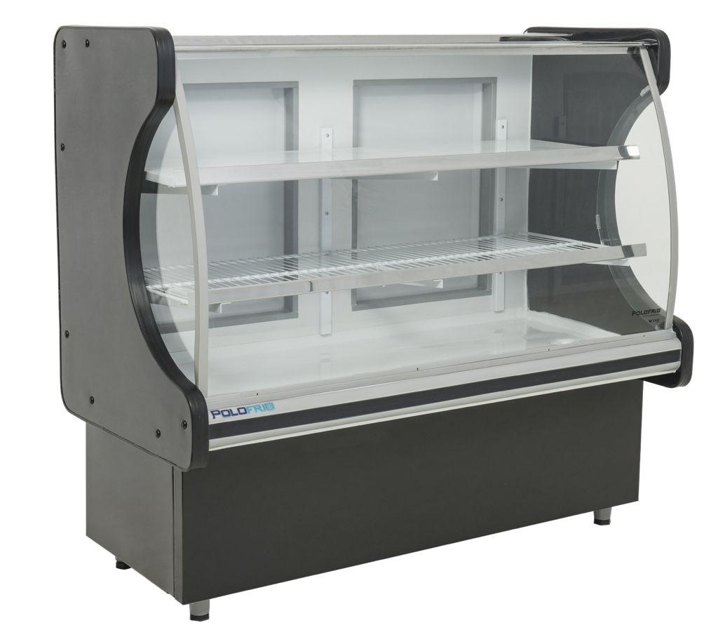 Balcão Refrigerado 1,25M 2P. Vidro Semi curvo Classic Preto C/ Led 127V 3018 - Polo Frio