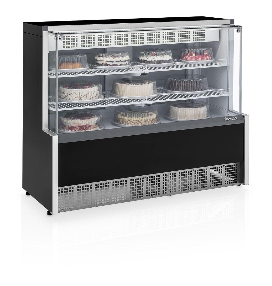 Balcao Refrigerado Torta E Doces 1,40M V. Reto Preto C/Led Aurora 127V Gpea-140R  - Gelopar