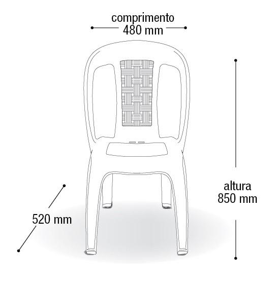CONJUNTO DE MESA MONOBLOCO COM 4 CADEIRAS VIME PRETA ARQPLAST