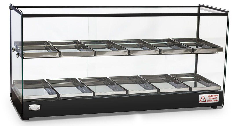 Estufa 12 bandejas dupla Vidro Reto Temperado Perfil Preto Evr-12Bd - Titan