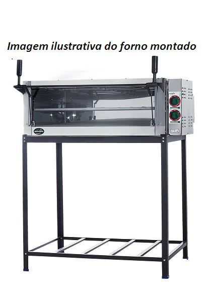FORNO ELÉTRICO 46X60 220V GUILHOTINA C/ PEDRA REFRATÁRIA E CAVALETE PE1