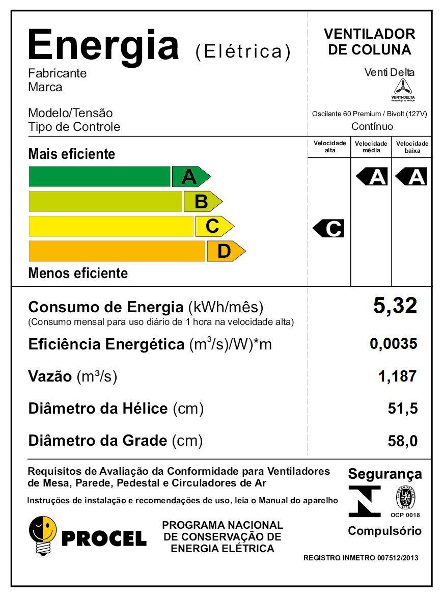 VENTILADOR DE  COLUNA 60CM PRETO BIVOLT PREMIUM 726412