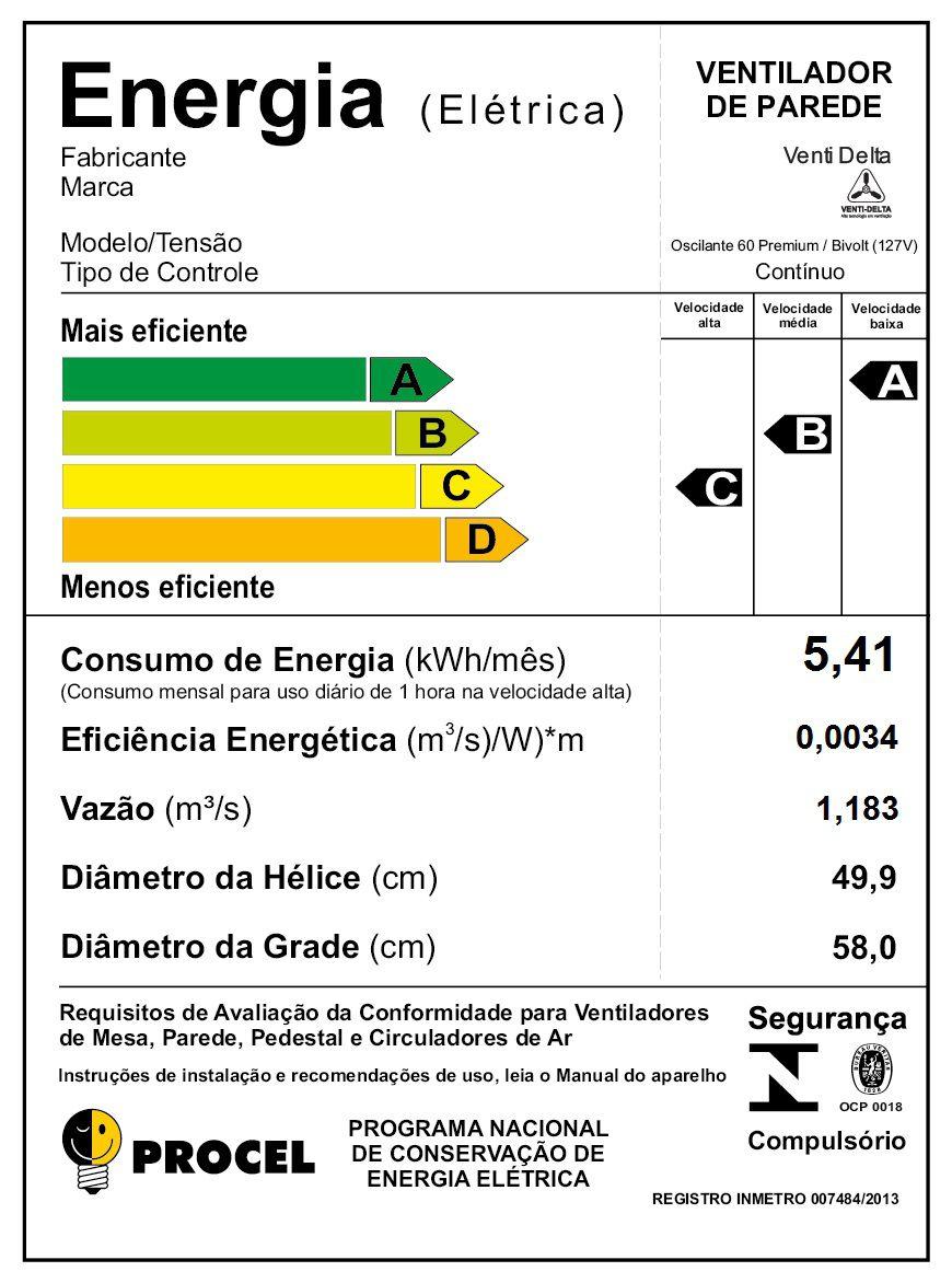 VENTILADOR DE PAREDE 60CM PRETO BIVOLT PREMIUM 736425