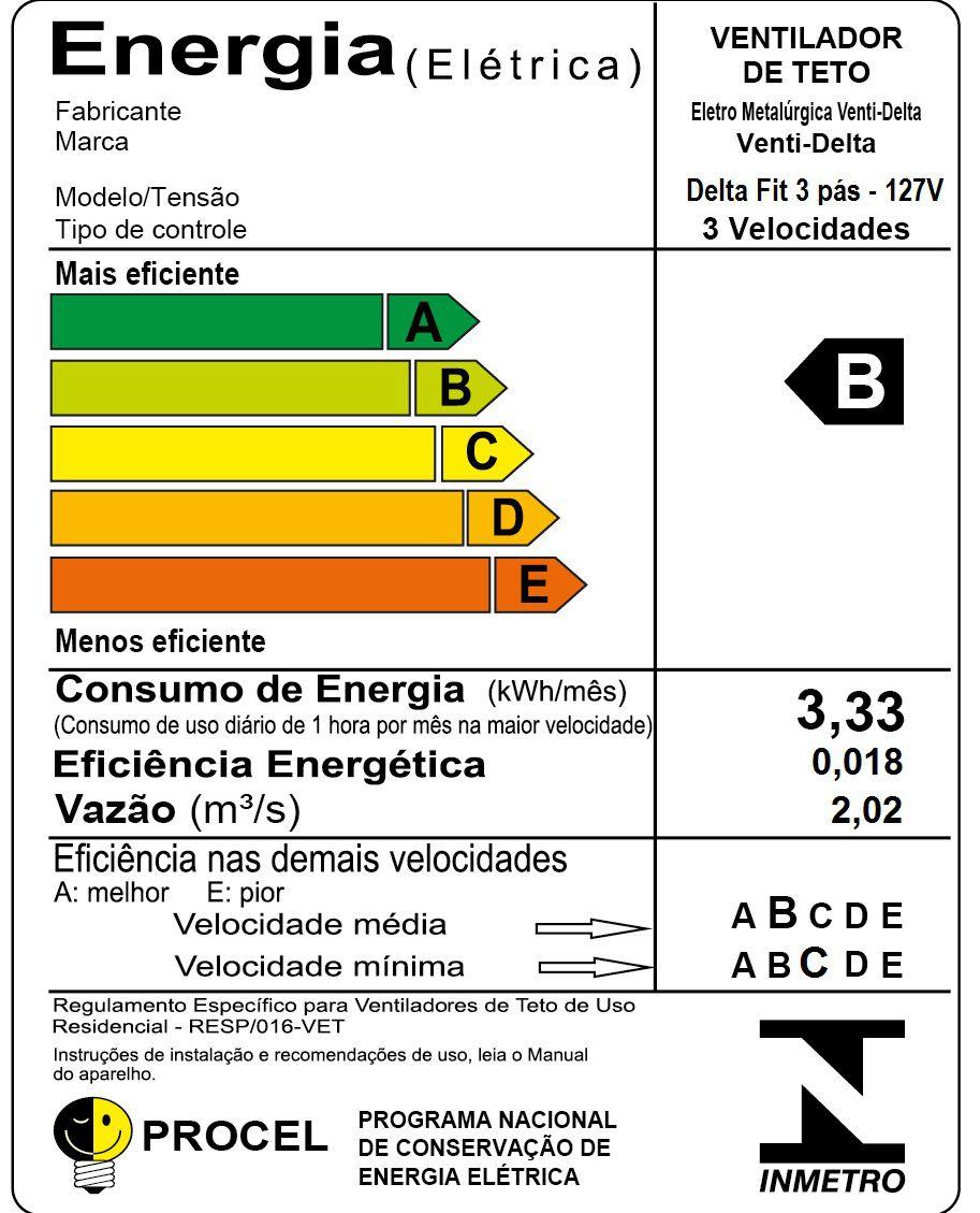 VENTILADOR TETO DELTA FIT BR 127V 593100