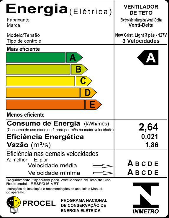 VENTILADOR TETO NEW CRISTAL LIGHT BR GLOBO ABERTO 127V 383121