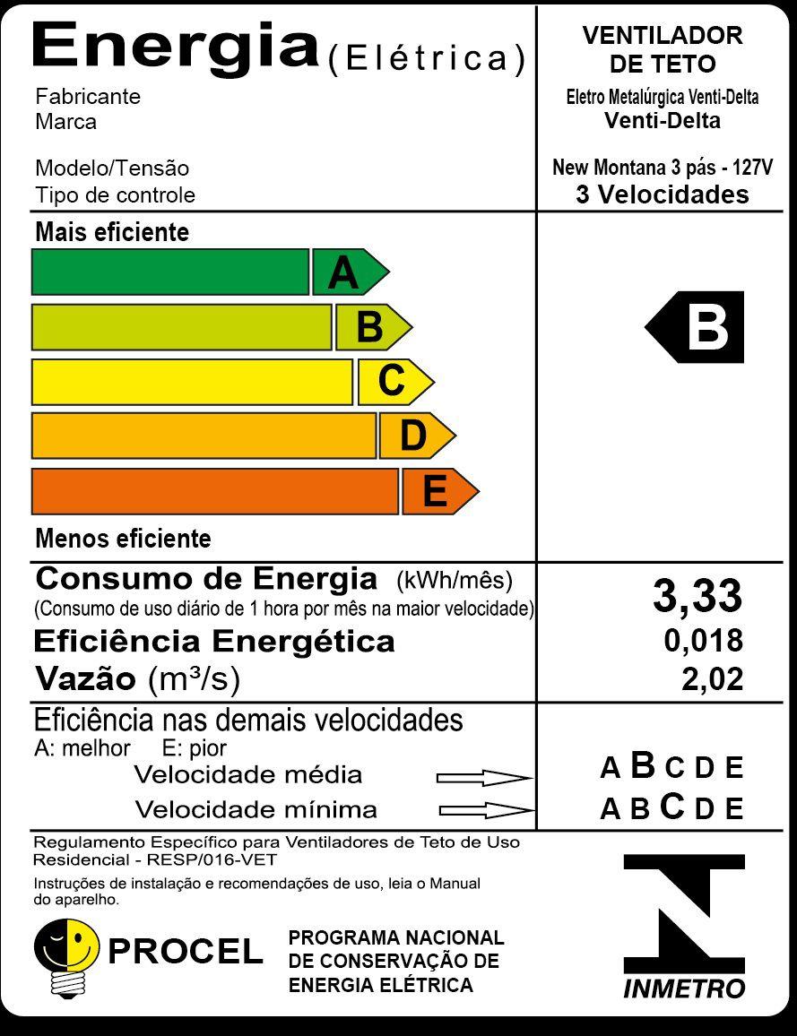 VENTILADOR TETO NEW MONTANA BR 127V 243108