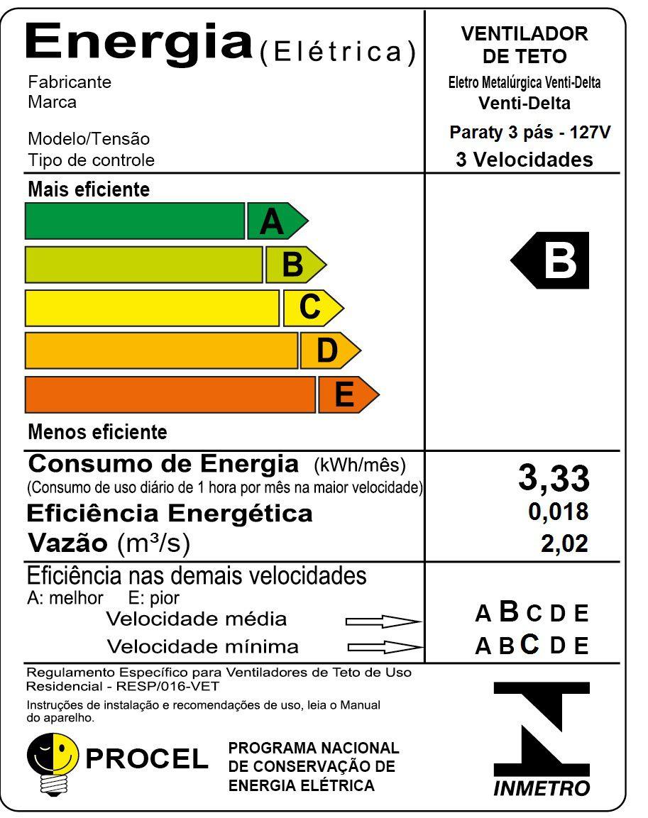 VENTILADOR TETO PARATY BR 127V 273101