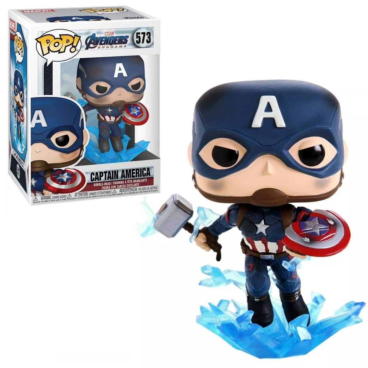 Funko Pop Vingadores Ultimato Capitão América Com Mjolnir 573 Marvel