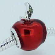 Charm Maça Vermelha Branca De Neve Prata925
