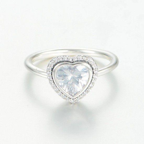 Anel Coração Brilhante Prata925