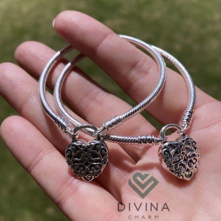 Bracelete Cadeado Coração da Realeza  Prata925