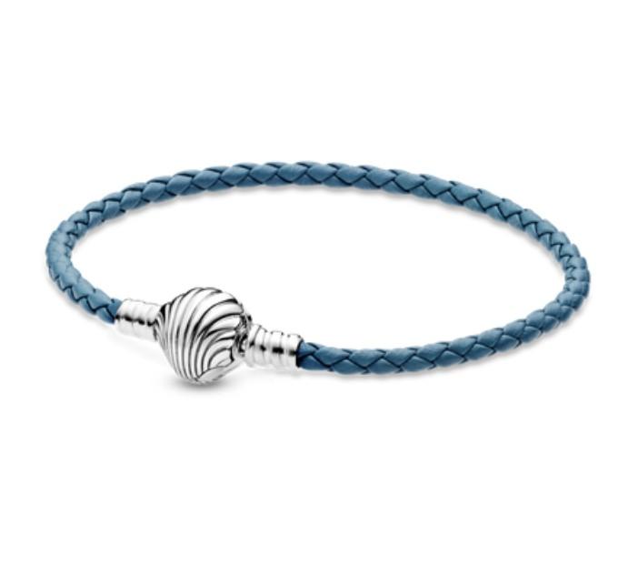 Bracelete Em Couro Azul Concha do Mar