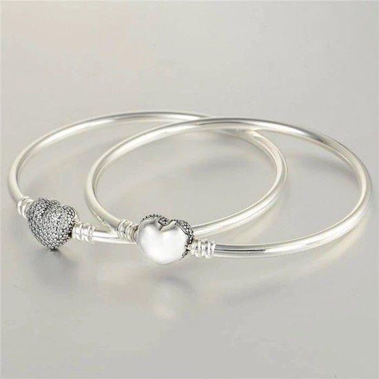 Bracelete Em Prata Fecho Brilho Coração