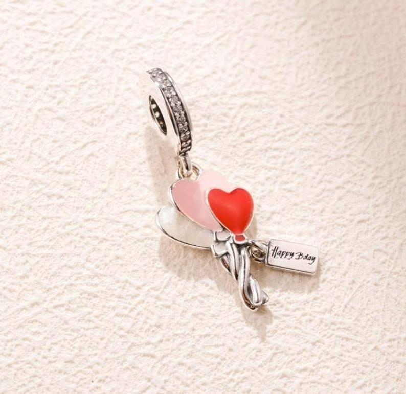 Charm  Balões Corações Prata925