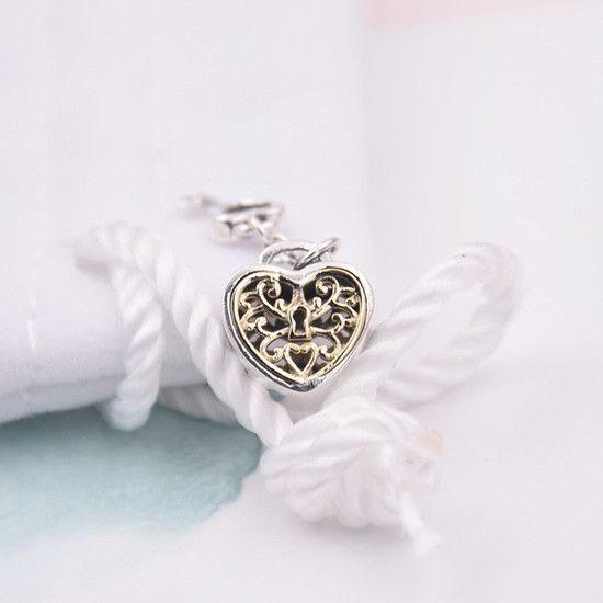 Charm Cadeado Amor Prata925 Ouro14k