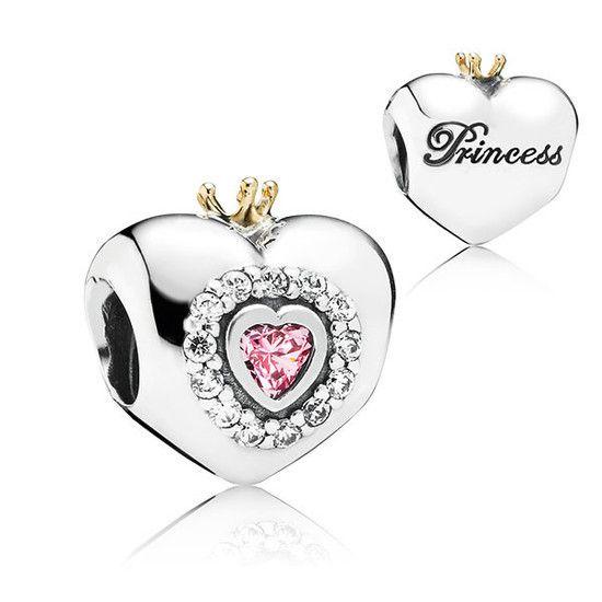 Charm Coração De Princesa Prata925 Banho De Ouro14k