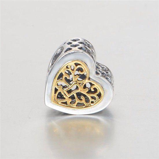Charm Coração Romance Prata925 E Banho De Ouro14k
