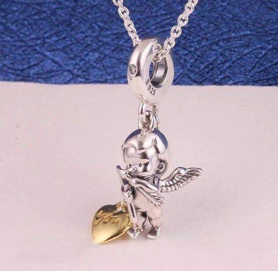 Charm Cupido Apaixonado Prata925  Ouro18k