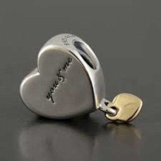 Charm Dois Corações  Prata E Banho Ouro14k