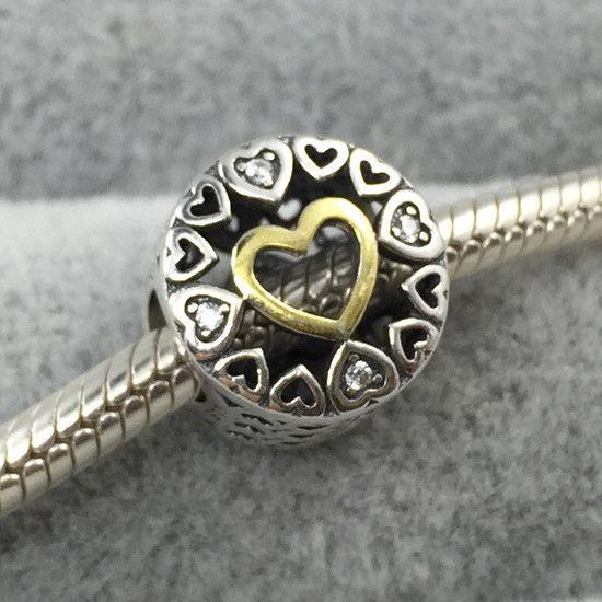 Charm Encanto Do Coração Prata925 E Banhado Ouro14k
