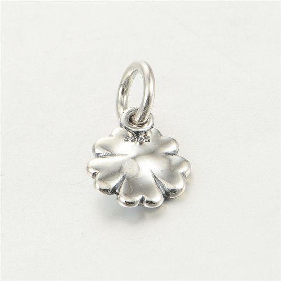 Charm Esmaltado Flor Branca Prata925