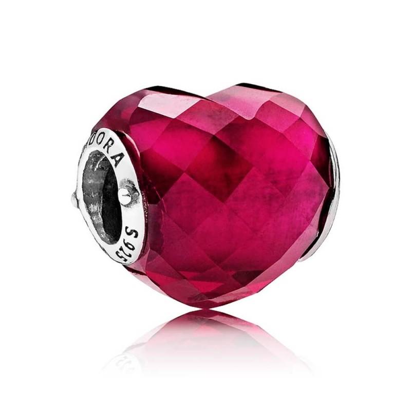 Charm Coração Murano Fúcsia do Amor  Prata925